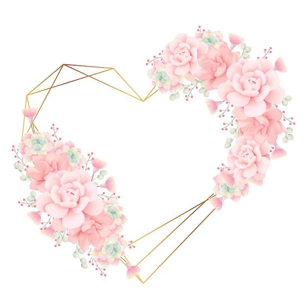 Amour fond cadre floral avec des plantes succulentes Vecteur Premium