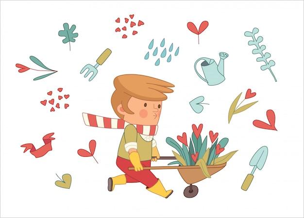 Amour jardinage Vecteur Premium