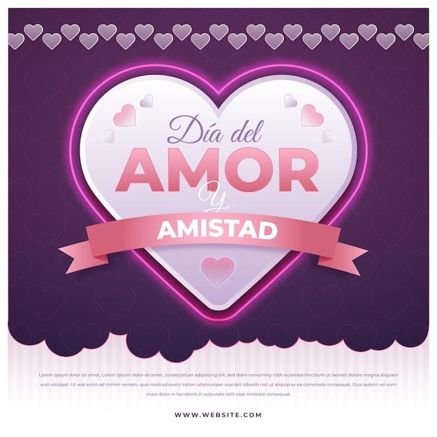 Amour Jour Grand Coeur Avec Ruban Vecteur gratuit