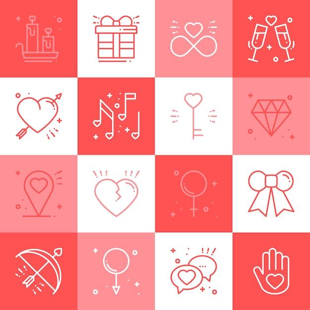 Amour ligne icônes définies. Vecteur Premium