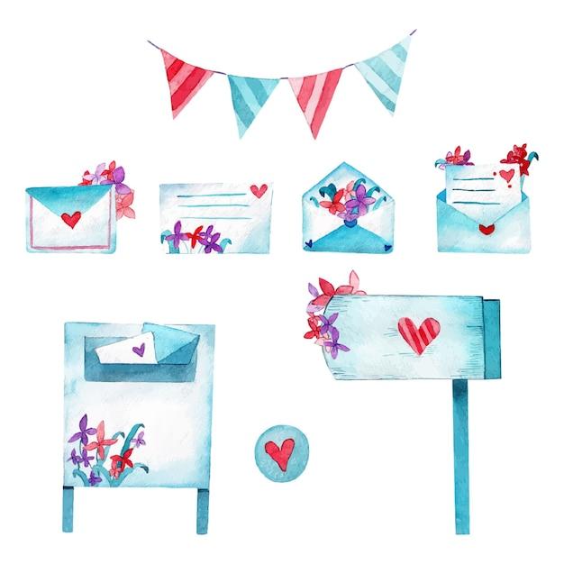 Amour Mails Illustration Aquarelle Vecteur Premium