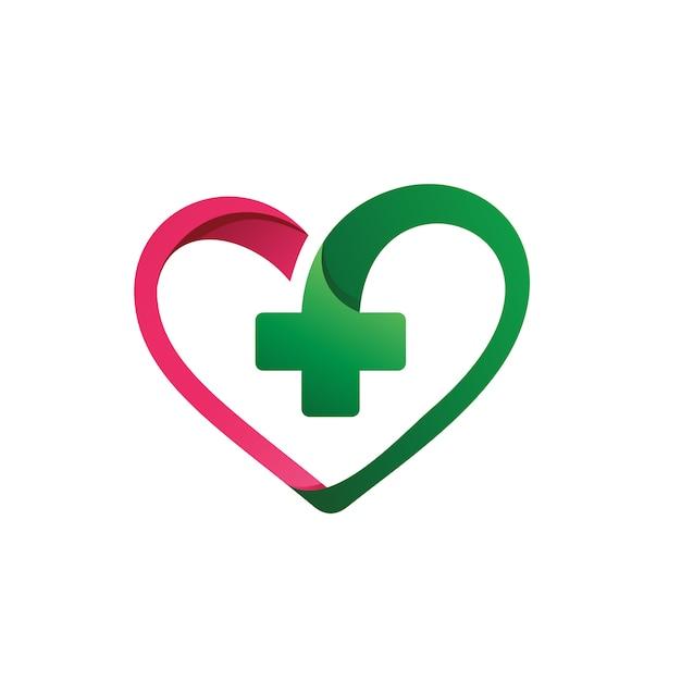 Amour avec plus forme vecteur médical logo Vecteur Premium