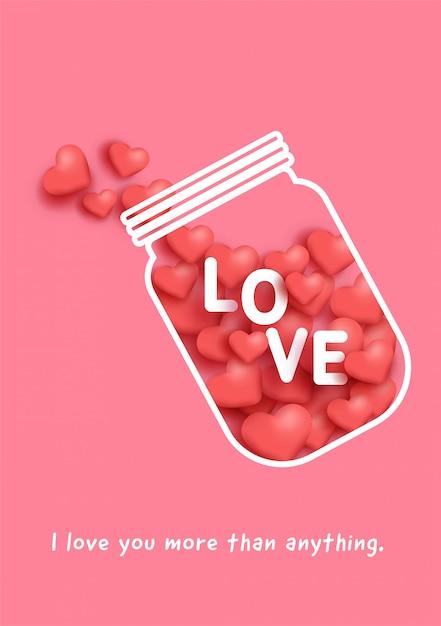 Amour Pot De Bouteille Avec Entend à L'intérieur Pour La Carte De Saint Valentin. Vecteur Premium