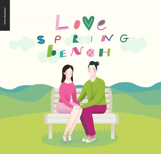 Amour, printemps, banc. un couple amoureux Vecteur Premium