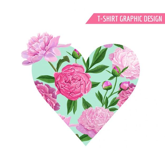 Amour Romantique Coeur Floral Design Vecteur Premium