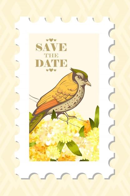 Amour timbre postal avec oiseau. Vecteur gratuit