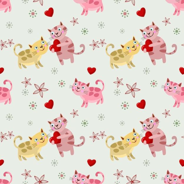 Amoureux des chats mignons avec motif sans soudure de forme de coeur. Vecteur Premium