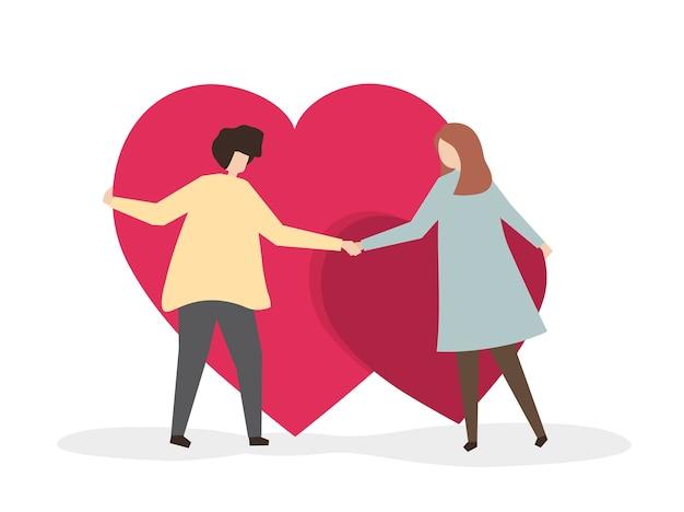 Amoureux s'accrochant à leur amour Vecteur gratuit