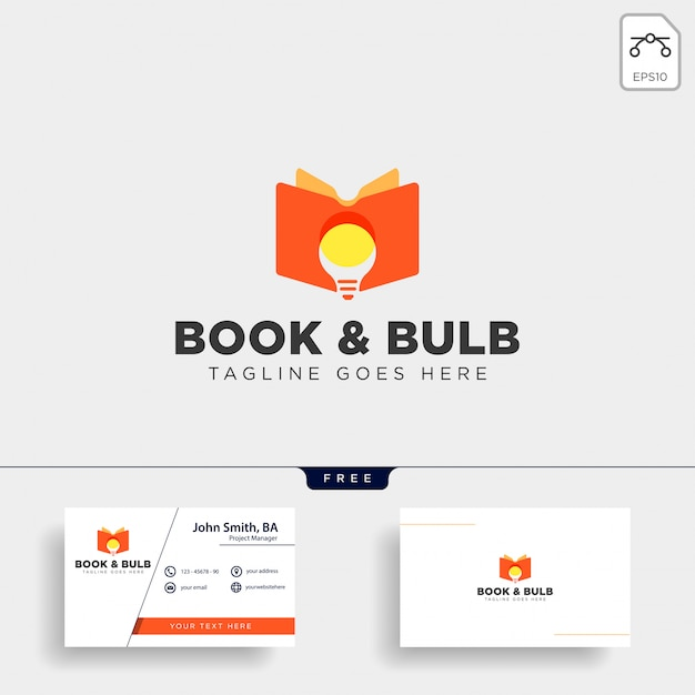 Ampoule d'apprentissage en ligne élément d'élément d'illustration logo modèle illustration isolé Vecteur Premium