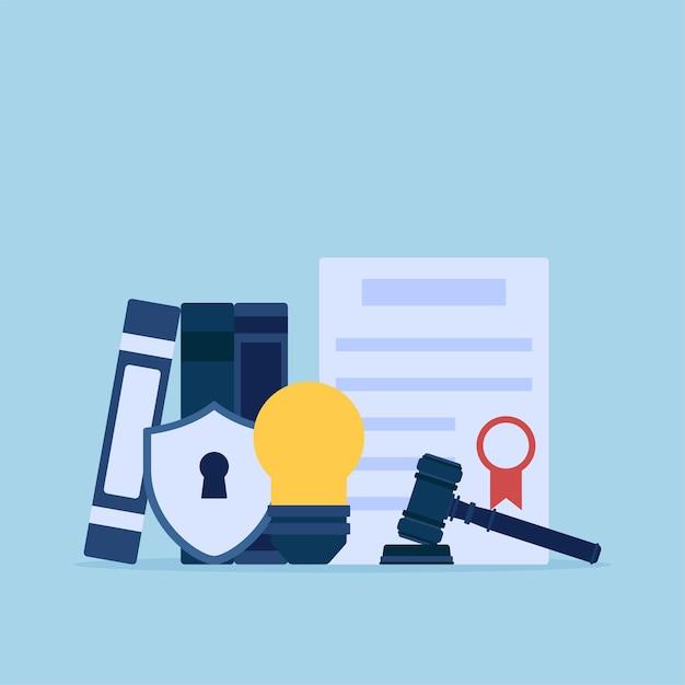 Ampoule Et Certificat De Droit Pour L'illustration Conceptuelle Plate De Propriété Intellectuelle. Vecteur Premium