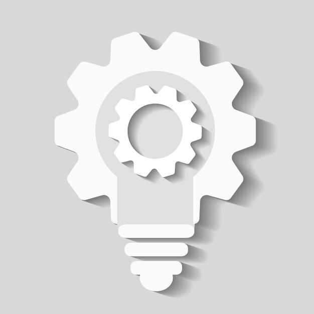 Ampoule cogs vector icon, ampoule Vecteur Premium