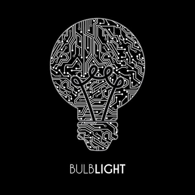 Ampoule sur fond noir Vecteur gratuit