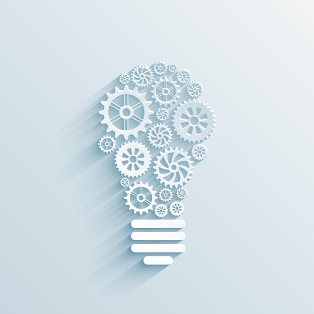 Ampoule De Papier De Vecteur Avec Engrenages Et Rouages, Concept D'interaction Commerciale Vecteur gratuit