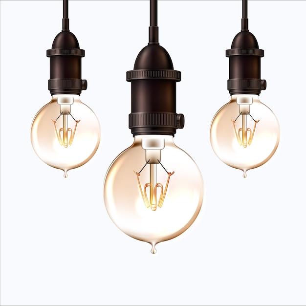 Ampoule Rétro Réaliste Sur Fond Isolé. Lampe Vintage Rougeoyante Dans Un Style Steam Punk. Vecteur Premium
