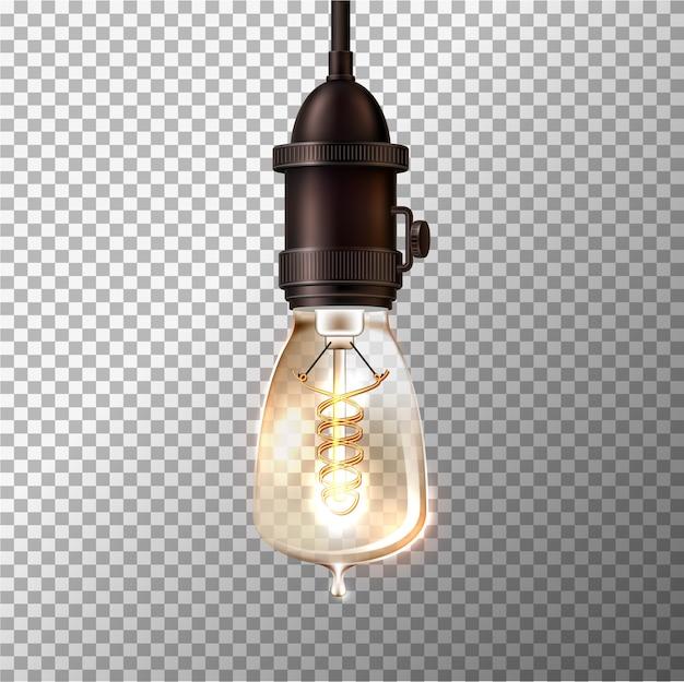 Ampoule Rétro Réaliste Sur Fond Transparent. Lampe Vintage Rougeoyante Dans Un Style Steam Punk. Vecteur Premium