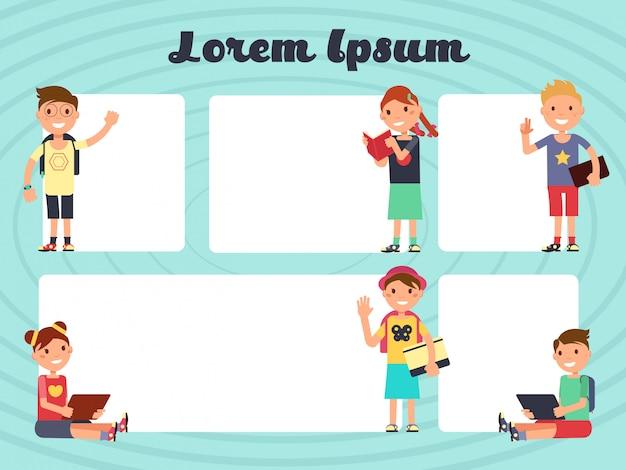 Amusant cadres enfants mise en page. arrière-plans de brochure de textos de vecteur avec enfants dessinés Vecteur Premium