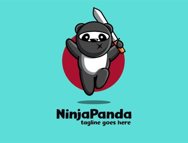 Amusant Ludique Ninja Panda Mascotte Dessin Animé Logo Icône Illustration Modèle Vecteur Premium
