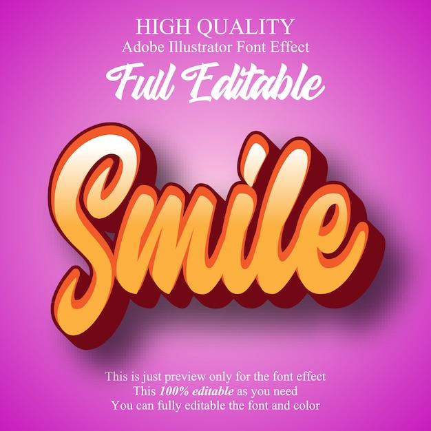 Amusant sourire script éditable effet de police de typographie Vecteur Premium