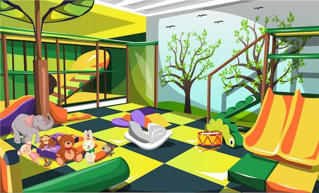 Amusement d'aire de jeux d'intérieur pour enfants avec des poupées, des glissières et des escaliers animaux Vecteur Premium