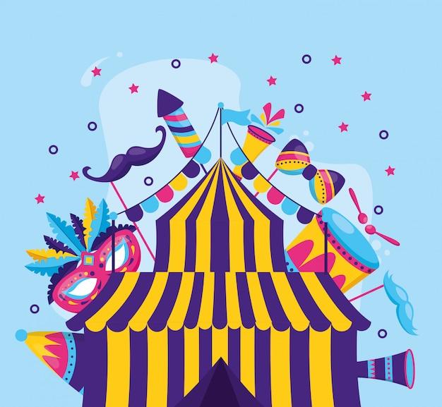 Amusement de tente de carnaval Vecteur gratuit