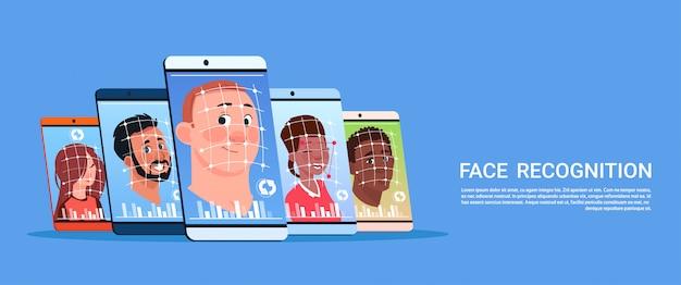 Analyse biométrique du concept de système de reconnaissance des visages des utilisateurs technologie de contrôle d'accès par téléphone intelligent moderne Vecteur Premium