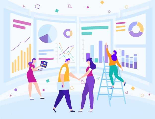 Analyse de données commerciales Vecteur Premium