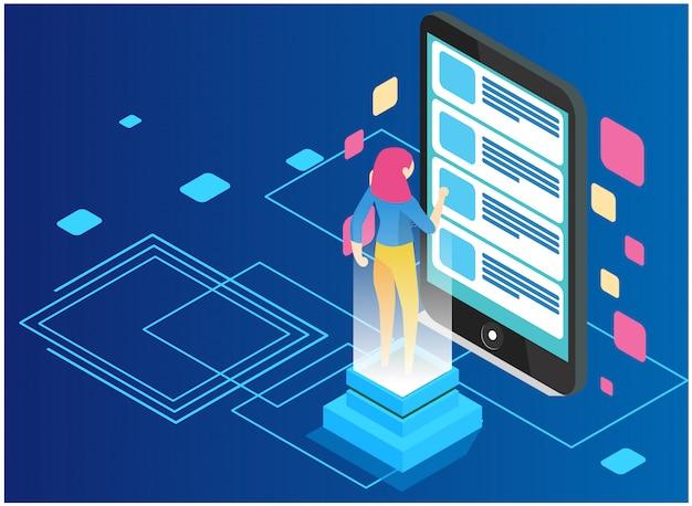 Analyse de données et concept de statistiques. analyse commerciale, visualisation de données. concept de technologie, internet et réseau. données et investissements Vecteur Premium