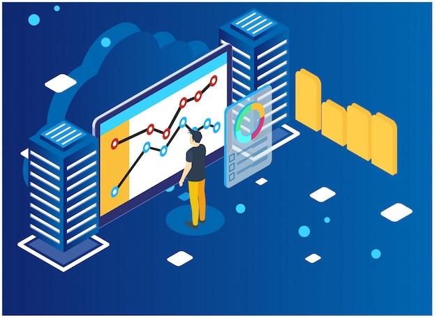 Analyse de données et concept de statistiques. Vecteur Premium