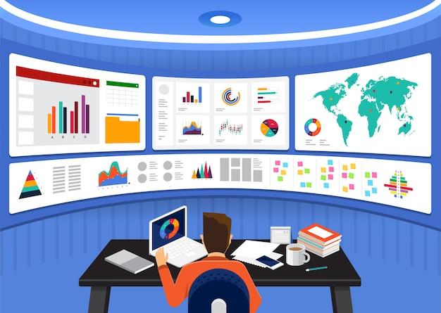 Analyse Des Données De Concept. Visualisez Avec Graphique Et Graphique La Croissance Du Marketing. Illustration. Vecteur Premium
