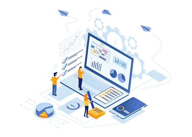 Analyse de données de flyers horizontaux, cartoon flat. Vecteur Premium