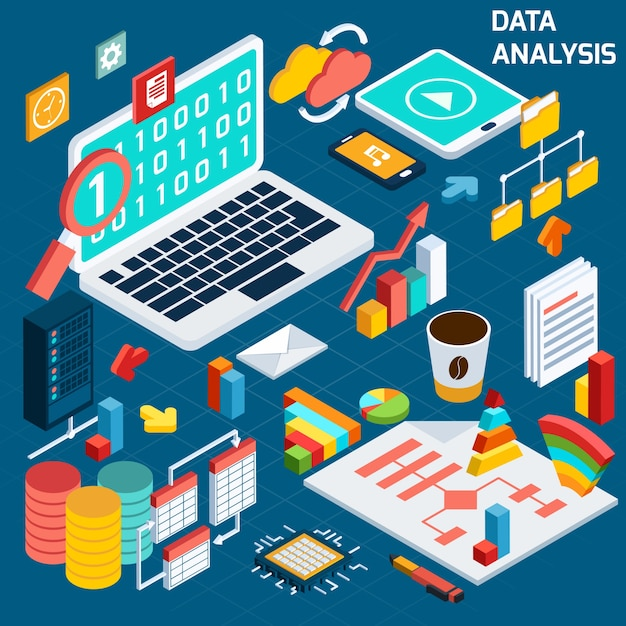 Analyse de données isométrique Vecteur gratuit