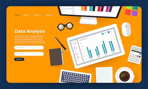 Analyse De Données De Marketing Numérique Concept De Site Web Avec Graphique. Illustration. Vecteur Premium