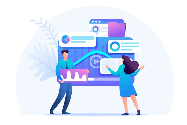 Analyse Des Données De Marketing Numérique Vecteur Premium
