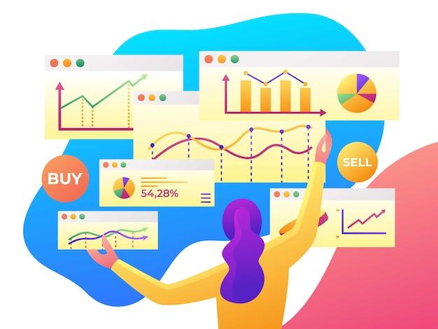 Analyse de données moderne, statistique de la finance, illustration de style plat Vecteur Premium