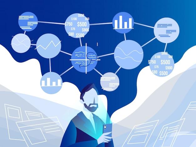 Analyse de données moderne Vecteur Premium