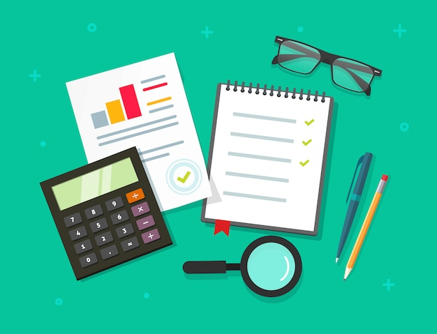Analyse des données de planification rapport sur la vue de dessus de table ou la recherche financière audit évaluation processus vecteur style de bande dessinée plat Vecteur Premium