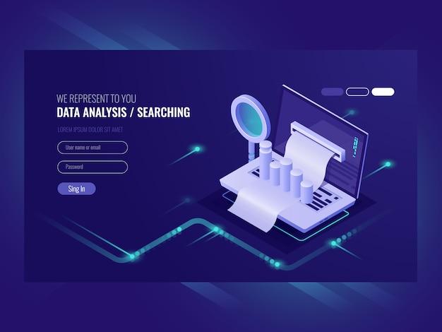 Analyse des données, recherche par infromation, interrogation du centre de données, optimisation des moteurs de recherche Vecteur gratuit