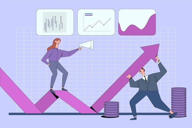 Analyse Du Marché Boursier Avec Graphique Et Personnes Vecteur gratuit