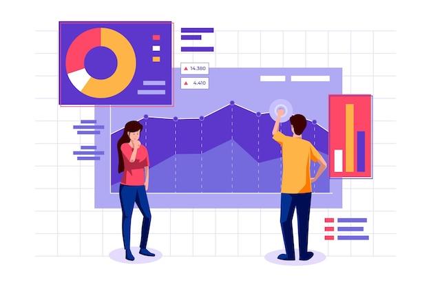 Analyse Du Marché Boursier Avec Graphique Vecteur gratuit