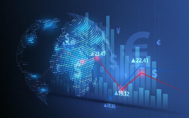 Analyse Du Marché Boursier Et Négociation D'actions, Symboles Monétaires, Graphiques Commerciaux Et Transferts D'argent Mondiaux Vecteur Premium