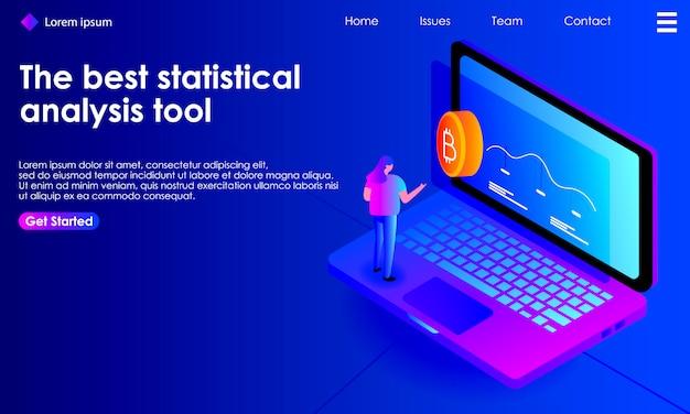 Analyse isométrique de l'analyse statistique de cryptomonnaie pour la page de destination Vecteur Premium