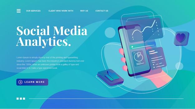 Analyse des médias sociaux avec saisie de main page de destination des statistiques d'affichage du téléphone Vecteur Premium