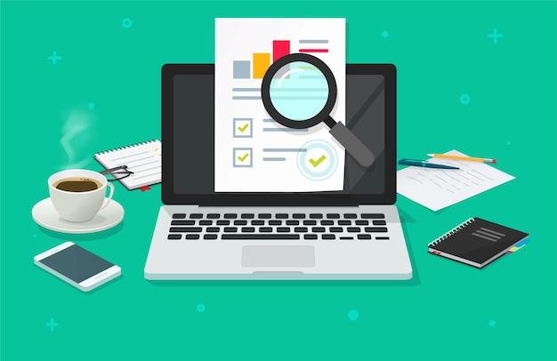 Analyse De Recherche D'audit Financier Rapport De Données De Vente En Ligne Sur Ordinateur Portable, Rapport De Document D'analyse Pc Vecteur Premium