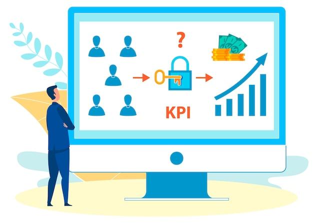 Analyse Des Taux De Kpi Sur Illustration Vectorielle Pour Ordinateur Portable Vecteur Premium