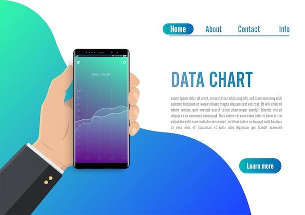 Analyse des tendances du marché sur smartphone avec graphique en courbes. Vecteur Premium