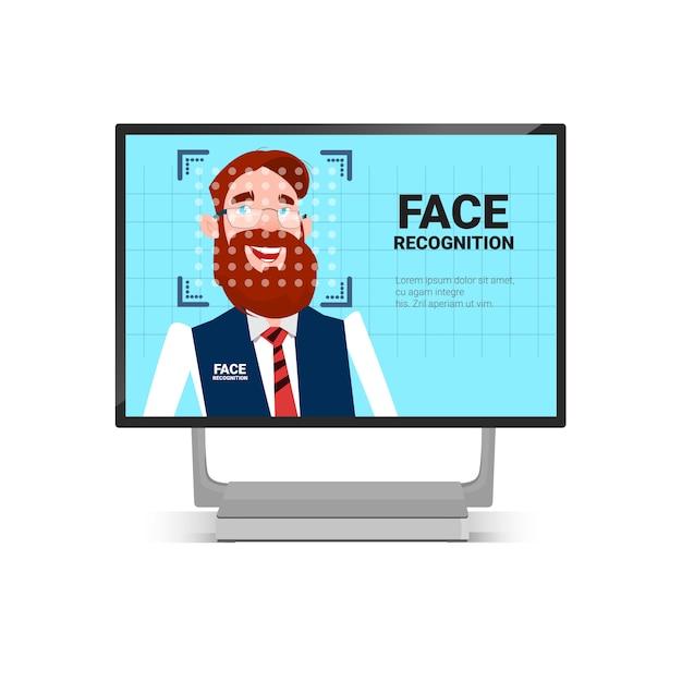 Analyse de l'utilisateur technologie d'identification du visage de l'homme système de contrôle d'accès concept de reconnaissance biométrique Vecteur Premium