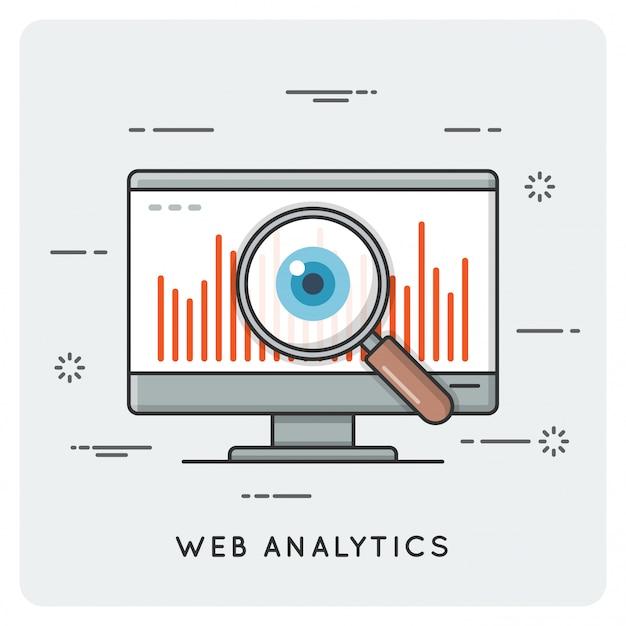 Analyses D'audience Internet. Concept De Ligne Mince. Vecteur Premium