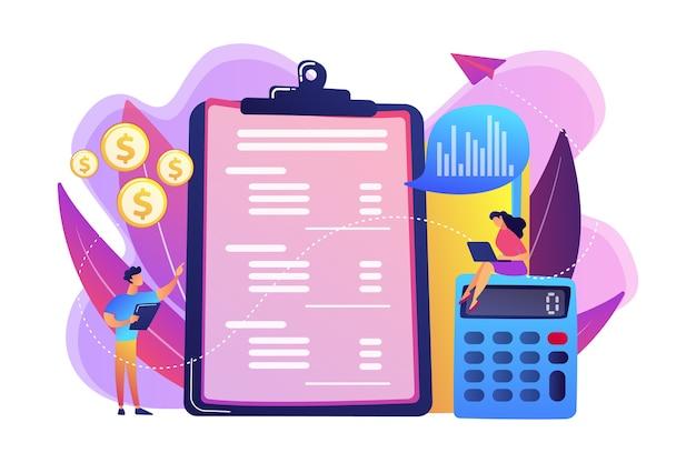 Les Analystes Financiers Font L'état Des Résultats Avec Une Calculatrice Et Un Ordinateur Portable. Compte De Résultat, état Financier De L'entreprise, Concept De Bilan. Vecteur gratuit