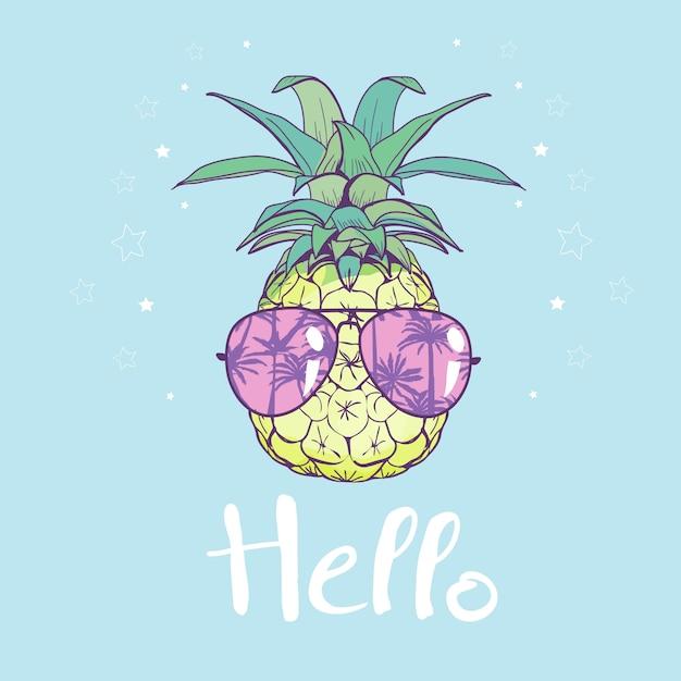 Ananas avec des lunettes design, exotique, nourriture, fruit, illustration nature ananas été tropical Vecteur Premium