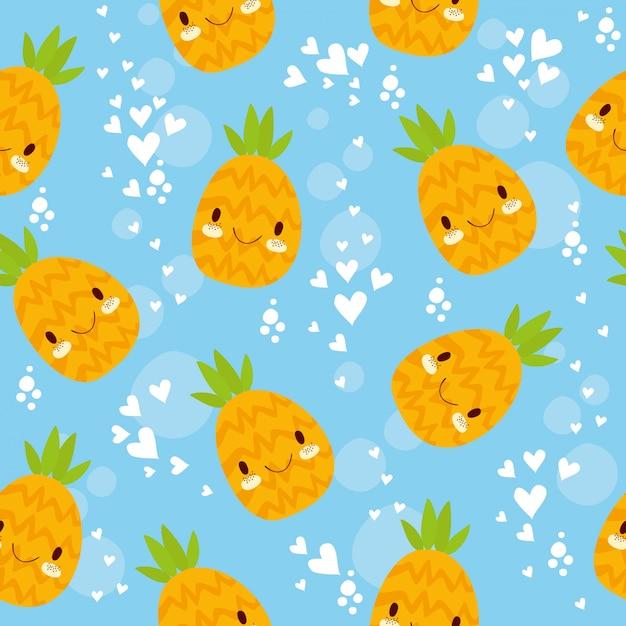 Ananas de modèle sans couture Vecteur gratuit